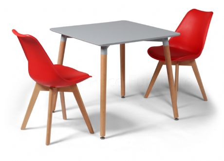 Toulouse Dining Set  - 80cms Square Grey Table & 2 Red Chairs